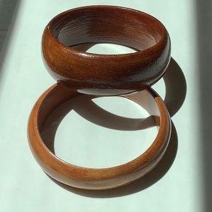 Pair of Vintage Wood Bangle Bracelets
